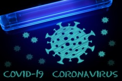 Coronavirus and Covid-19 molecules under UV light. The concept of an invisible virus