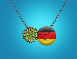 Coronavirus / Corona virus attack concept. Germany cracked- business or economy fall for corona virus. Coronavirus outbreak on Germany and corona virus influenza background. Germany recession concept.