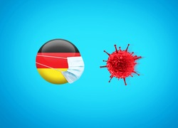 Coronavirus / Corona virus attack concept. Germany put mask to fight against Corona virus. Concept of fight against virus. Coronavirus outbreak on Germany influenza background.