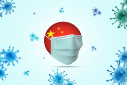 Coronavirus / Corona virus concept. china put mask to fight against Corona virus. Concept of fight against virus. Many Virus attack isolated on blue sky background.