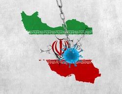 Coronavirus / Corona virus concept. Iran wall breaking- business or economy fall for corona virus. Coronavirus outbreak on iran and corona virus influenza background.