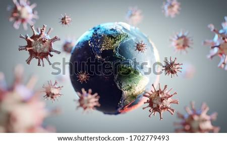 Coronavirus COVID-19 attacking world. News about corona virus concept. 3D render