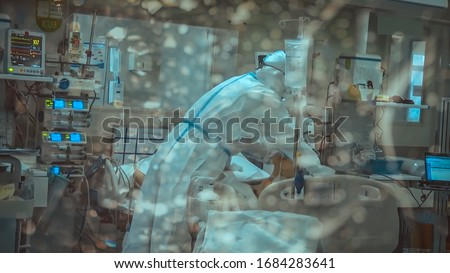 Coronavirus covid 19 infected patient in quarantine room at hospital with coronavirus covid 19 disease control experts make coronavirus disease treatment