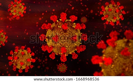 coronavirus COVID-19 microscopic virus corona virus disease 3d illustration
