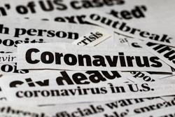Coronavirus, covid-19, newspaper headline clippings. Print media information isolated