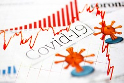 Coronavirus, covid-19, newspaper headlines.  Declining stock market plot