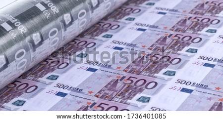 Coronavirus covid-19 pandemic Europe economics impact 3D concept. Euro banknotes printing, 500 euro sheet closeup. Europe economy, banking, finance, stock market, business investment design background Stock photo ©