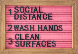 Coronavirus COVID-19 Prevention sign for social distance, hand hygiene, sanitisation of surface. Self isolation and stayin home social distancing, washing hands frequently, cleaning surfaces.
