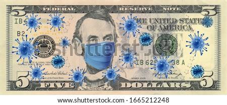 Coronavirus (COVID-19) Quarantine Dolar Economy Money Stok fotoğraf ©