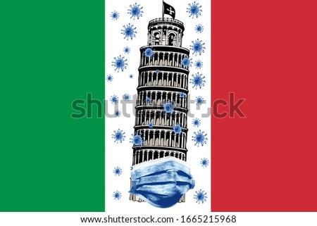 Coronavirus (COVID-19) Quarantine in Pisa Tower Italy Stok fotoğraf ©