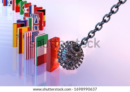 Coronavirus covid-19 worldwide outbreak financial crisis, stock market crash, world economy recession, unemployment. Corona virus domino effect, virus impact on economic, collapse shutdown 3D concept Stock photo ©