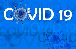 Coronavirus disease COVID-19 infection, medical illustration. New official name for Coronavirus disease named COVID-19, pandemic risk, blue background