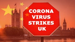 Coronavirus epidemic message with Chinese flag composite and UK Houses of Parliament.