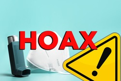 Coronavirus, face mask and respiratory diseases fake information and hoax. Fake news concept about covid-19 sars-cov-2