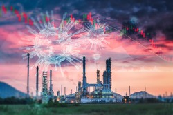 Coronavirus Impact Influence Oil and Gas Industry, Covid 19 Disease Epidemic Effect to Oil Refinery Industrial and Stock Exchange. Falling Stock Market Risk Investment From Coronavirus Covid-19 Crisis