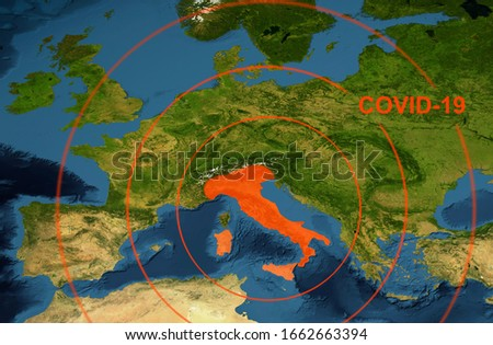 Coronavirus in Italy, word COVID-19 on Europe map. The spread of corona virus in World. COVID-19 infection, lockdown and travel restrictions concept. Elements of this image furnished by NASA.