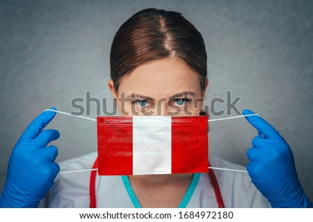 Coronavirus in Peru Female Doctor Portrait hold protect Face surgical medical mask with Peru National Flag. Illness, Virus Covid-19 in Peru, concept photo