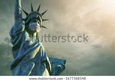 Coronavirus in the United States. 3D Statue of Liberty in medical mask. Pathogen coronavirus flu covid-19 outbrake in United States of America, corona virus pandemic US quarantine background concept Stockfoto ©