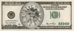 Coronavirus in the USA. Montage of a banknote of 100 US dollars with a virus image instead of a portrait. A global threat to the global economy from an outbreak of coronavirus and a pandemic. 3d.