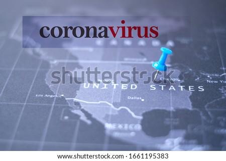 """Coronavirus in USA. The text """"coronavirus"""" on United States map. COVID-19 in United State.  USA Map. United Stated coronavirus. USA focus. Coronavirus pandemic in USA"""