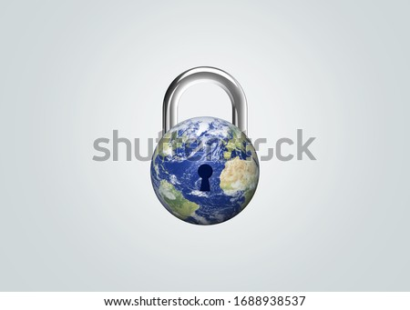 CORONAVIRUS LOCKDOWN. Covid-19 Pandemic world lockdown for quarantine. World many country and city under lockdown concept. Earth day or environment day concept.