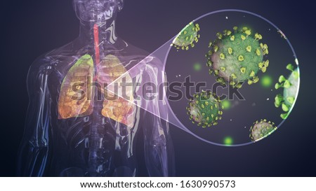 Coronavirus outbreak infecting respiratory system. Influenza type virus background as dangerous flu. Pandemic medical health risk concept with disease cells 3D render.