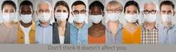 Coronavirus Pandemic. A set of portraits of people of different nationalities and ages in medical masks with the slogan
