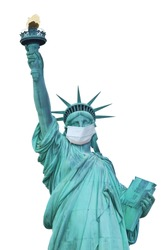 Coronavirus prevention concept showing the Statue of Liberty with protective face mask. Vertically. Isolated on the white background.