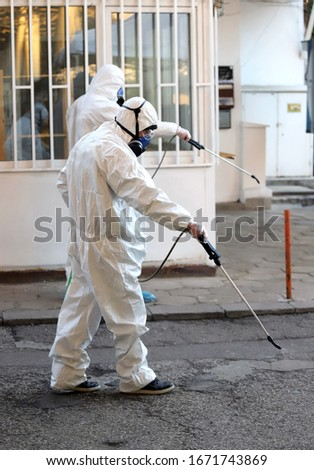 Coronavirus Quarantine. Disinfection and decontamination on a public place as a prevention against Coronavirus disease 2019, COVID-19. State of emergency over coronavirus