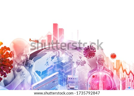Coronavirus SARS-CoV-2 covid-19 3D collage design background: coronavirus ncov covid 19 cells, patient, stock exchange economy market data. Corona virus pandemic health crisis, world economics impact Stock photo ©