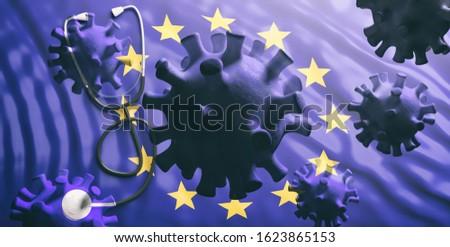 Coronavirus spreading to Europe, epidemic pandemic flu virus infection, EU flag background. 3d illustration