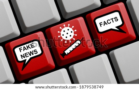 Coronavirus Vaccine - Fake News, Lies, Conspiracy Theories or Truth and Facts about Covid-19 Vaccination 3D illustration Photo stock ©