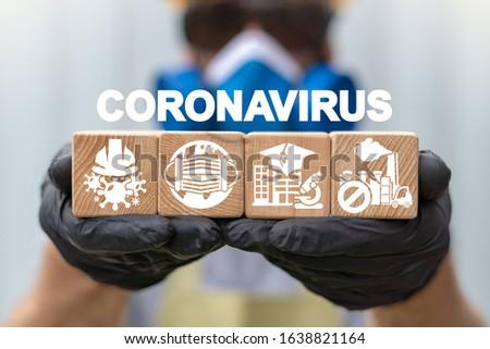 Coronavirus Warning Virus Epidemy Industrial Production Safety Worker Health Concept.