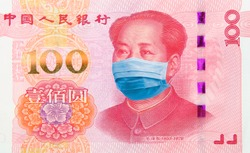 Coronavirus Wuhan Sars illness. Concept: Quarantine in China, 100 Yuan banknote with face mask. Economy and financial markets affected by corona virus outbreak and pandemic fears. Digital montage.