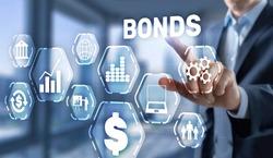 Corporate Bonds concept. Man presses his finger on the inscription Bonds.