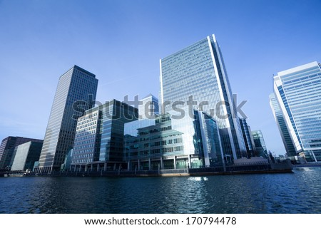 Corporate building Financial Skyscrapers Office center in the Canary Wharf, City of London  #170794478