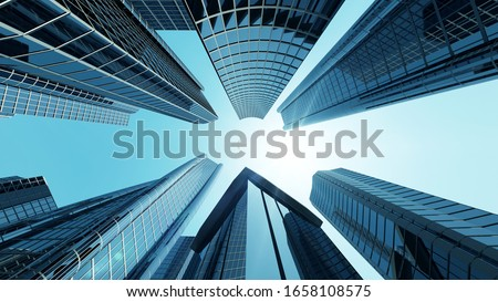 Corporate Building in City Downtown District with Sun Light and Flying Airplane. 3D Rendering