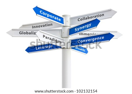 Corporate buzzwords on a sign isolated on white: synergy + paradigm + growth etc