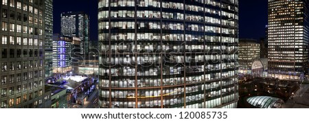 Corporate cityscape at night