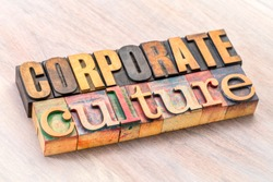 corporate culture word abstract in letterpress wood type printing blocks