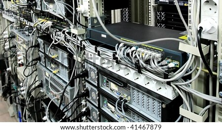 Corporate Data Center and communications equipment - stock photo