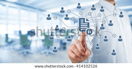 Corporate data management system (DMS) and document management system with privacy theme concept. Businessman click on protected document connected with users, access rights symbolized by key.