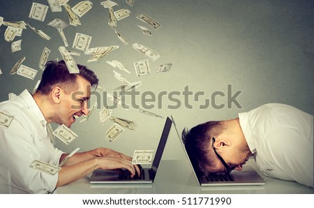 Corporate employee income compensation economy concept. Stressed desperate burnout man resting sleeping on laptop sitting next to professional man under money dollar rain. Pay labor salary difference