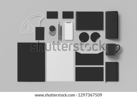 Corporate identity. Black stationary branding set mock up on white background. 3d illustration #1297367509