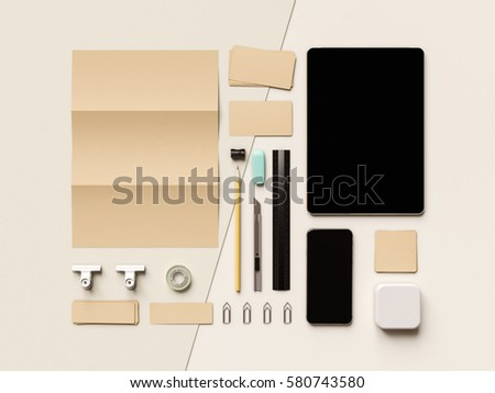 Corporate Identity. Branding Mock Up. Office supplies, Gadgets. 3D illustration. High quality #580743580