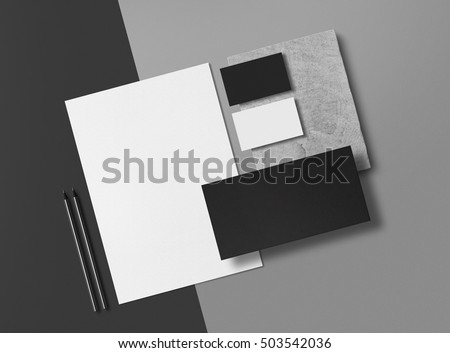 Corporate Identity. Branding Mock Up. Set of elements on a gray background. Blank objects for placing your design. 3d illustration.