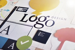 Corporate identity. Concept for logo design and development, branding, graphic design services, creative workflow.