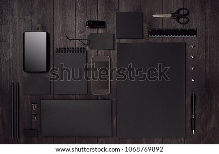 Corporate identity set of blank black stationery with phone on luxury dark wood board. Template for branding, business presentations and portfolios. #1068769892