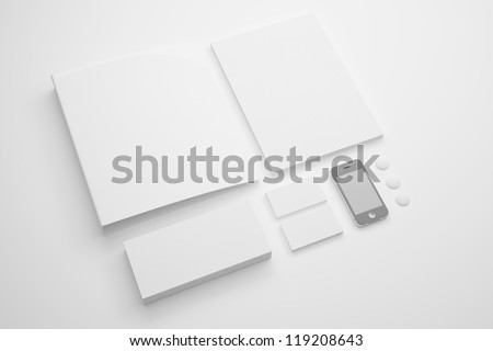 Corporate identity Stationery / Stationery identity templates:blank, business cards, envelope, pen, badge, brand-book, phone. Isolated with soft shadows