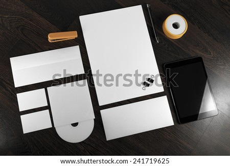 Corporate identity template on wooden background. For design presentations and portfolios.